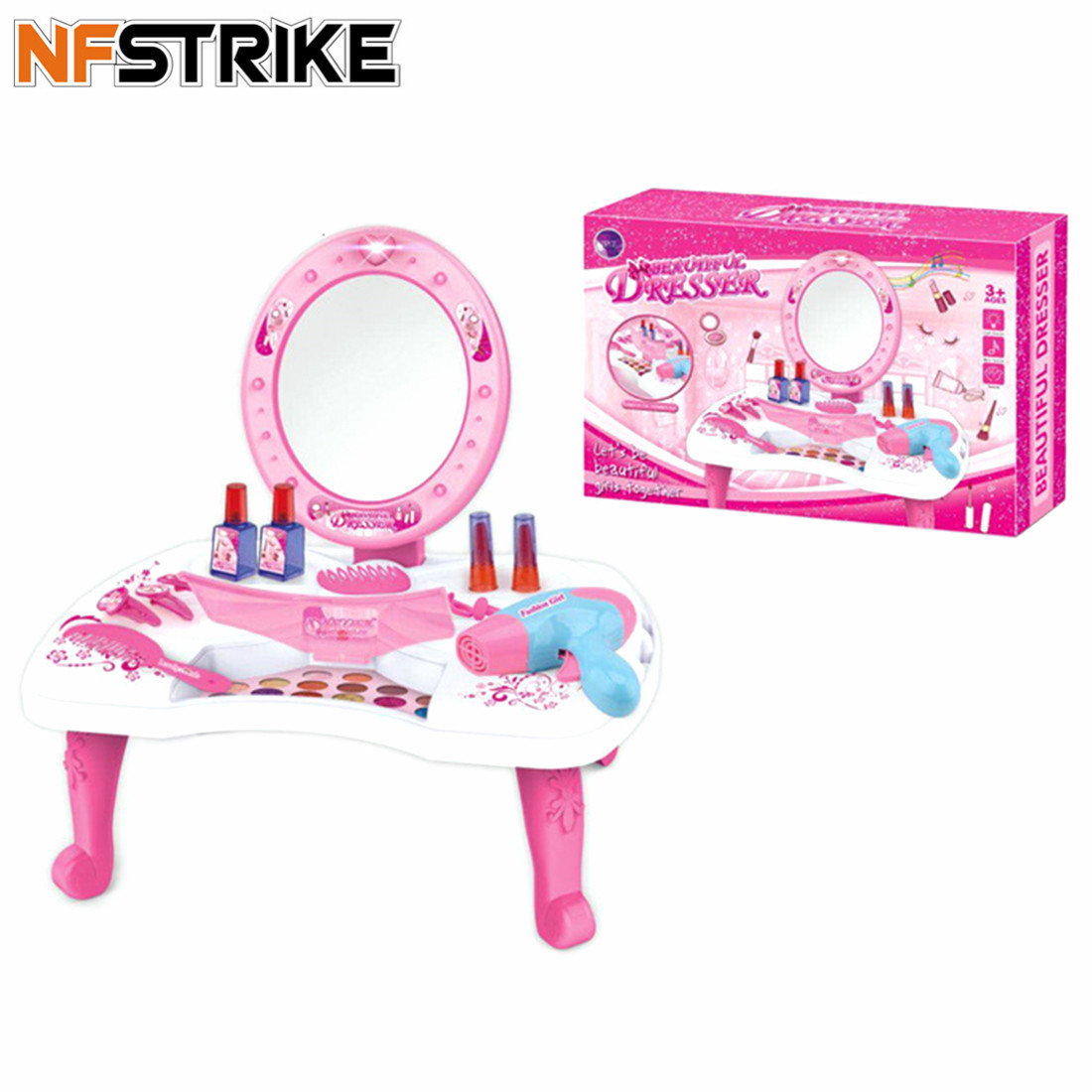 26Pcs Children Pretend Play Dressing Table Toy Girl Cosmetics Playset Makeup Toys For Girl Set Children Birthday Gift
