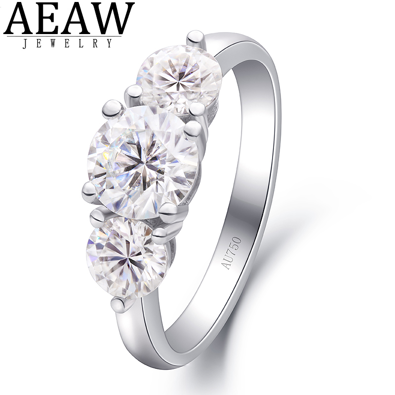 2 0ctw 6 5mm Round Brilliant Cut Moissanite Engagement Halo Ring Three Stone Style Solid Real 18K White Gold for Lady DF Color