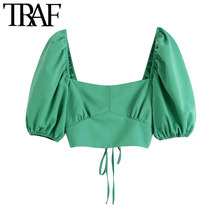 TRAF moda damska z elastycznymi wykończeniami przycięte bluzki Vintage z krótkim rękawem krzyżowe sznurowania koszule damskie eleganckie koszule