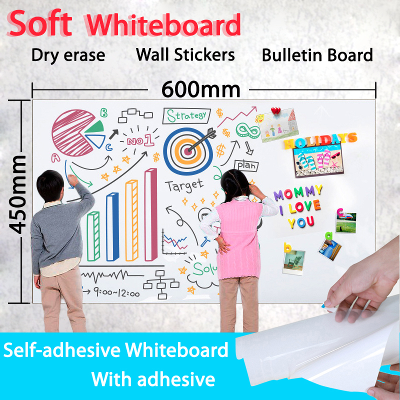 Self-sticking Whiteboard Dry Erase White Board Soft Message Board School Board Memo Boards Kids Wall Sticker Size 450mm*600mm
