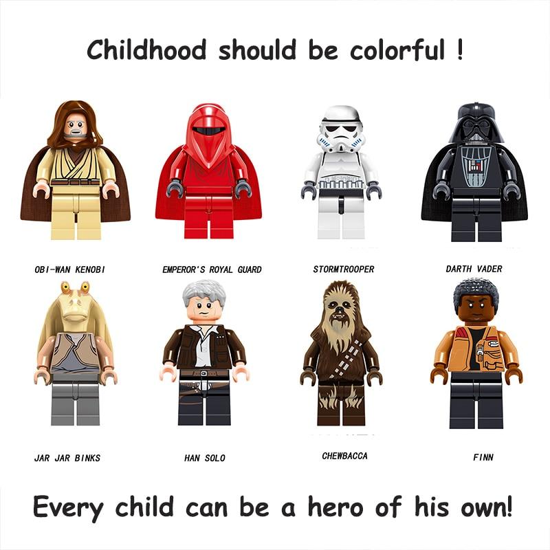 Legoed Star Wars Darth Vader Finn Jar Jar Binks Han Solo Model Building Blocks STARWARS Toys Legoingly DIY FigureS For Children