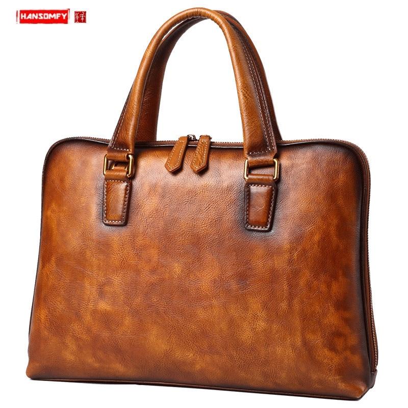 Genuine Leather Men's Handbags Casual Business Men Briefcase Computer Bag European And American Shoulder Messenger Bags Tide