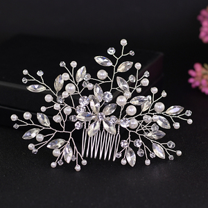 YouLaPan Wedding Pearl Hair Pins for Woman Mother of Pearl Hair Comb Pearl Crystal Headband Flower Headpieces for Bridals HP117(China)