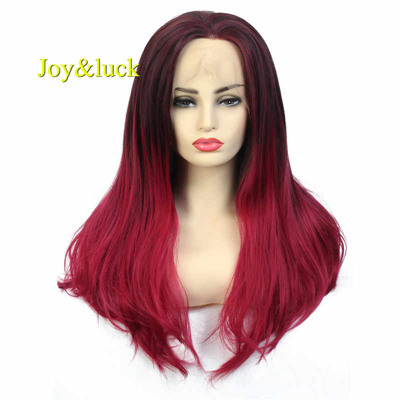 Joy&luck Long Lace Front Wig Straight Synthetic  Wigs Black to Red Wig for Women 26 inch