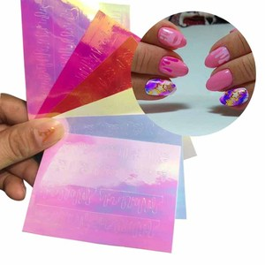 Image 2 - Pegatina de flama holográfica para decoración artística de uñas, cinta adhesiva, láser delgada, raya plateada, lámina adhesiva, decoración artística de uñas