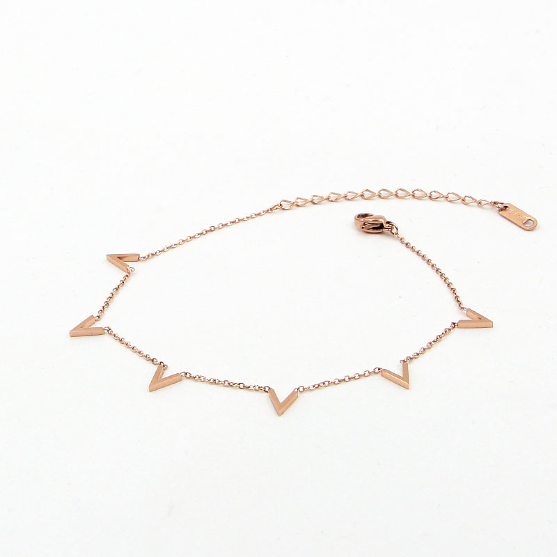 Fashion Jewelry 6 V Letter Rose Gold Anklet Titanium Steel Foot Chain Woman Jewelry Anklet Length 20cm + 5cm 4