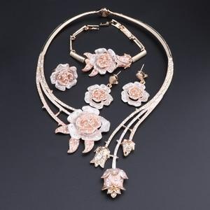 Image 2 - Nigeria Classic Jewelry Sets Elegant Bride Wedding Flower Shape Necklace Earrings Bracelet Ring Set for Dubai Women