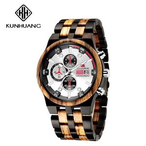 Image 5 - עץ גברים קוורץ שעון גברים של ספורט שעונים עסקים עץ זכר שעון Relogio Masculino יוקרה שעון Mens גדול הכרונוגרף שעון