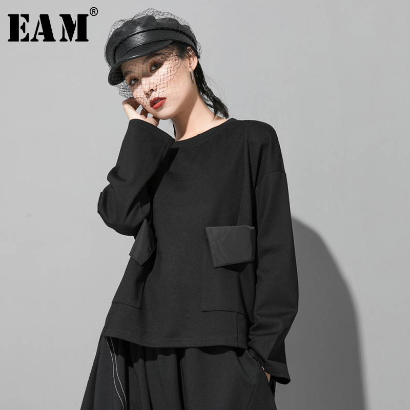 [EAM] Women Black Pocket Split Joint Big Size T-shirt New Round Neck Long Sleeve  Fashion Tide  Spring Autumn 2020 1R420