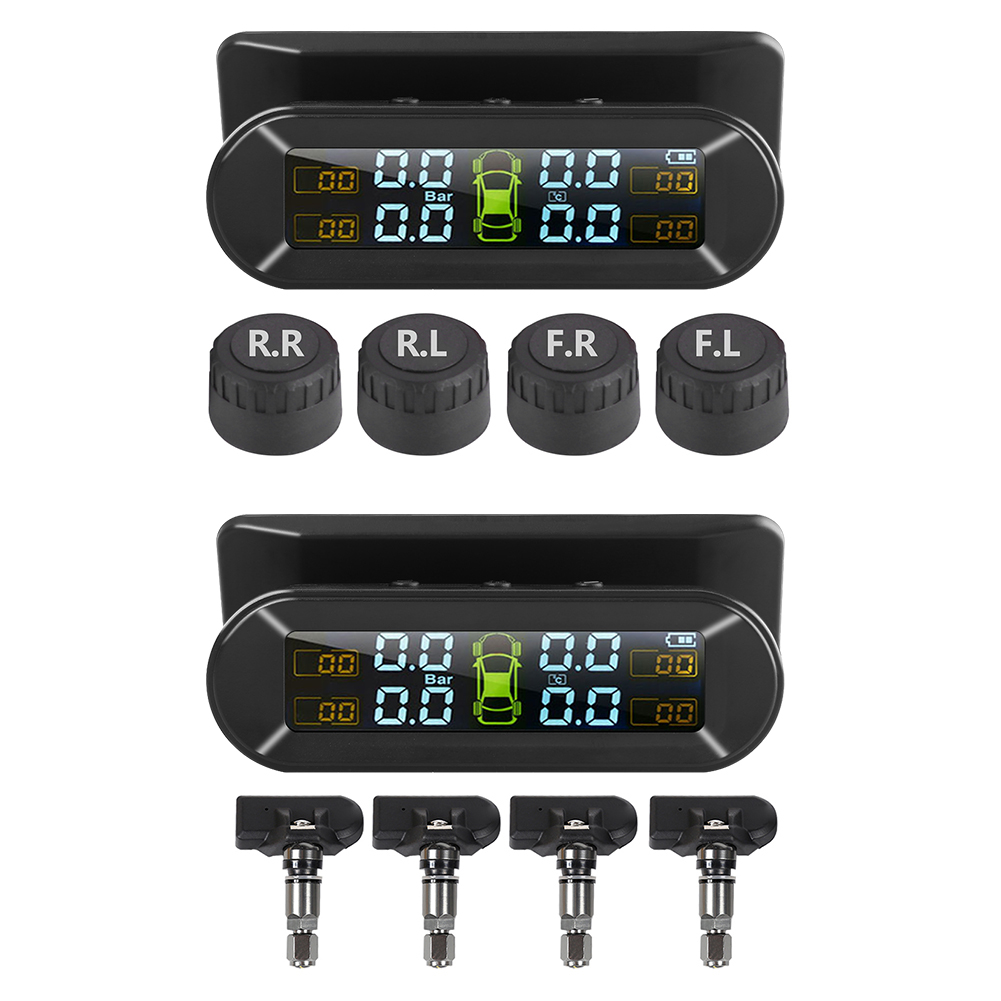 4 Sensors Solar USB Car TPMS Charging TPMS LCD Universal Auto Tire Pressure Monitoring System Temperature Alarm System