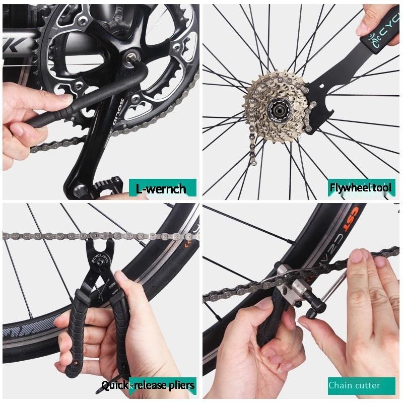 Велосипедисты 18 в 1 Инструменты для ремонта велосипеда Велоспорт Мультитул цепная педаль BB шестигранный гаечный ключ набор инструментов для велосипеда набор коробок комплект для ремонта велосипеда - 4