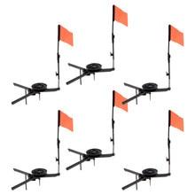 Pacote de 6 pçs abs dobrável varas de pesca no gelo ponta redonda com bandeira laranja equipamento de pesca no gelo acessórios