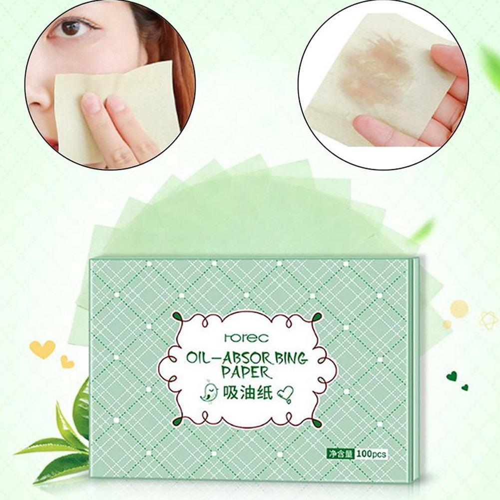 100pcs Green Facial Oil Blotting Sheets Oil Absorbing Papers Facial Cleanser Oil Control Shrink Pore Face Cleaning Tool