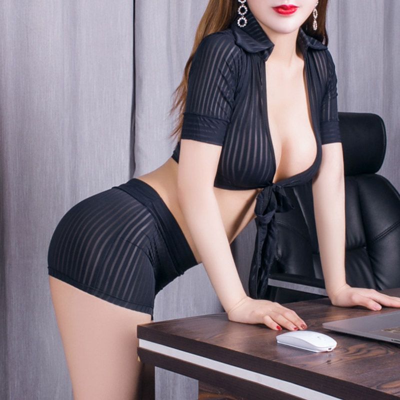 2019 2pcs Women Perspective Lingerie Secretary Outfit Uniform Cosplay Costume Top Skirt Set DC116