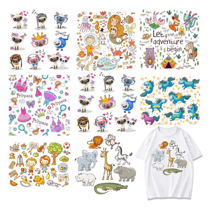 Cartoon Cat Patches Iron on Stickers Heat Transfer Patch for T-shirt Applique AB