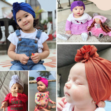 For Girls Cotton Baby Beanie Cap Fashion Flower Hat Newborn Elastic Turban Hats