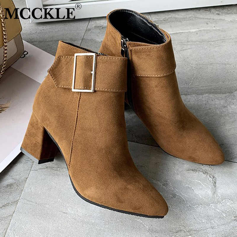 MCCKLE New Brand Women's Ankle Boots Zipper Mid Square Heels Platform For Ladies Buckle Footwear Women's Shoes Solid Mujer