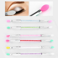 1 Pc Cosmetic 2020 New Makeup Double End Silicone Eyeshadow Eyeliner Brush Rhinestones Tool Easy to Makeup Brushes Random Color