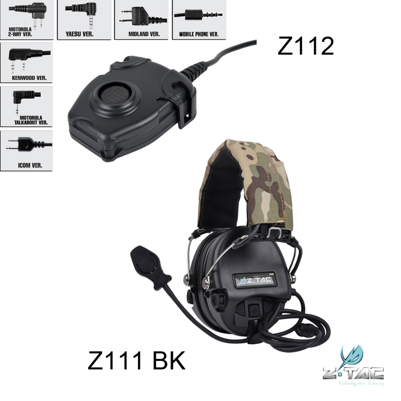 Z-TAC ZSordin Noise Reduction Headset Z111 BK And Walkie Talkie PTT Z112 Combination