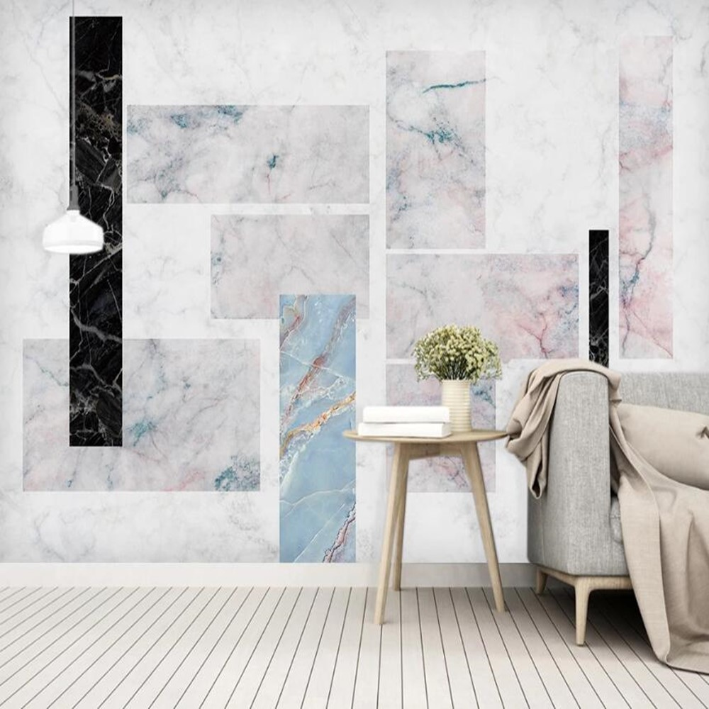 Milofi Custom 3D Marble Geometric Squares Graphic Background Wallpaper Mural