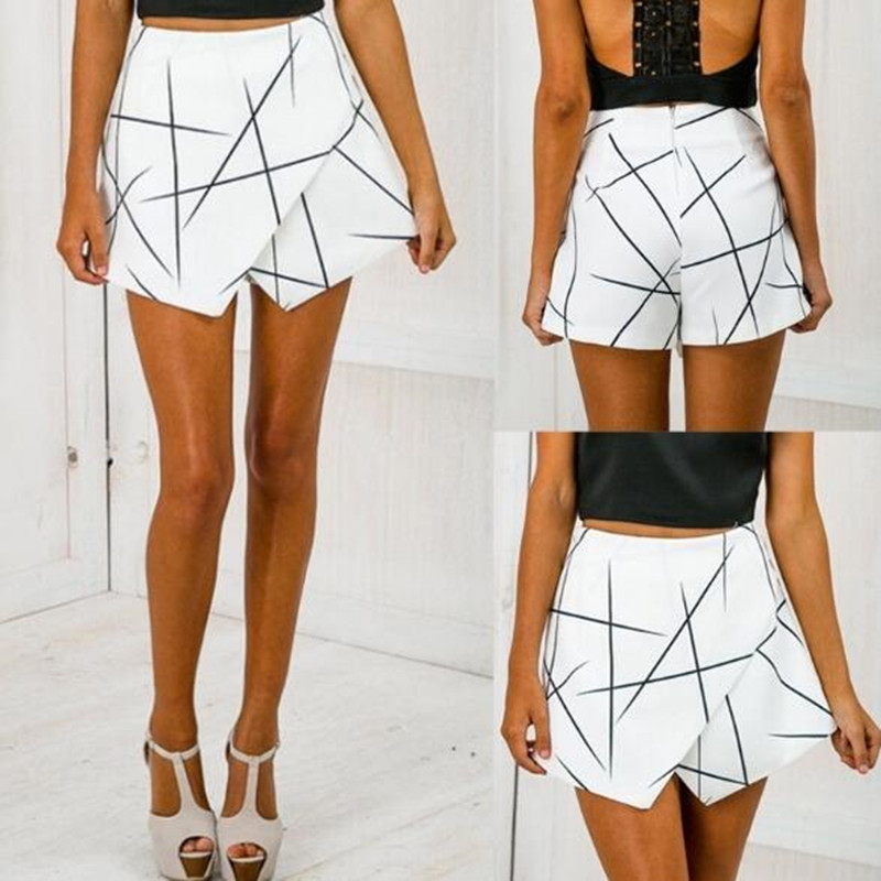 Summer Ladies <font><b>Shorts</b></font> Skirt Geometric Pattern Office Ladies Retro <font><b>Sexy</b></font> <font><b>Shorts</b></font> Irregular Mini <font><b>Shorts</b></font> Skirt image