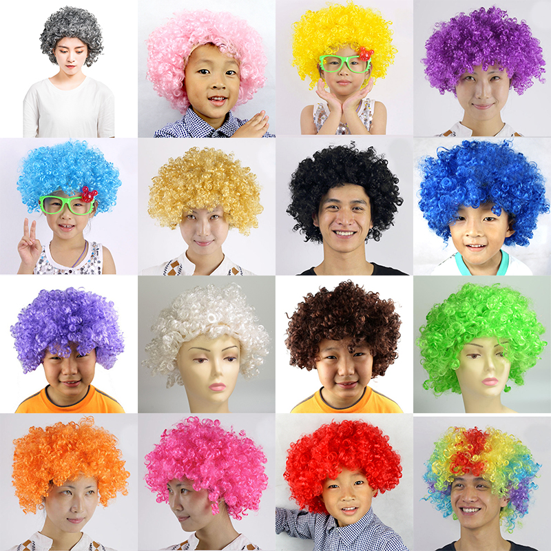 New Dress Up Birthday Party Decoration Carnival Christmas Explosion Styles Wigs Curly Hair Football Fans Party Hats Headwear