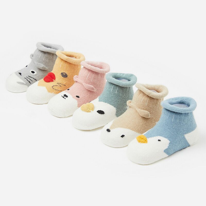 1 Pair Baby Socks Lovely Kids Socks Cute Cartoon Animals Anti-Slip Knitted Warm Socks Infant Toddler Baby Boys Girls Socks