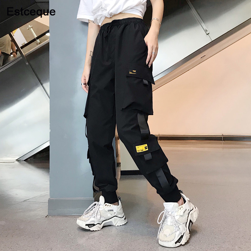 New Big Pockets Cargo Pants Women High Waist Loose Streetwear Pants Baggy Tactical Trouser Hip Hop High Quality Joggers Pants