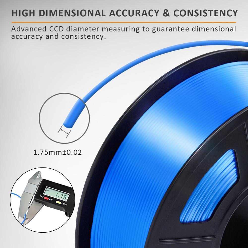 PLA Filament Silk 1kg 1.75mm Shiny Color Silk Texture High Toughness Diameter Tolerance 0.02mm FDM 3D Printer Printing Material 3