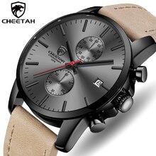 Marca de lujo CHEETAH hombres reloj de cuarzo moda Casual negocios hombres Relojes de Cuero deporte impermeable reloj de pulsera reloj Masculino