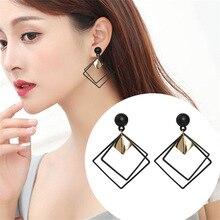 Korean version of the geometric shape silver needle earrings long fashion pendant personality simple big