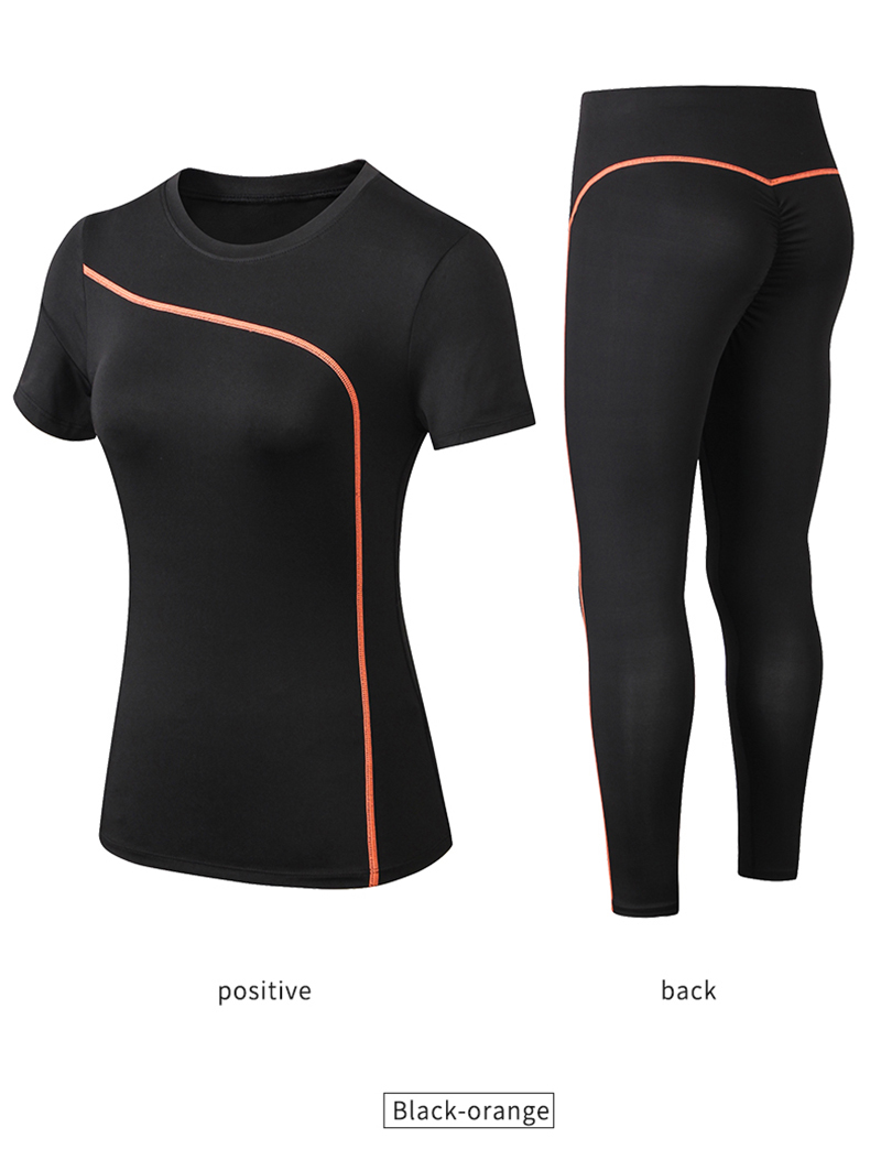 Hc92a5ea7795545d598267ff81f0cc24bK - Yoga Set Quick Dry 2 Piece Female Short-sleeved long Pants Outdoor Sportswear Fitness suit Plus Size Sport outfit for woman