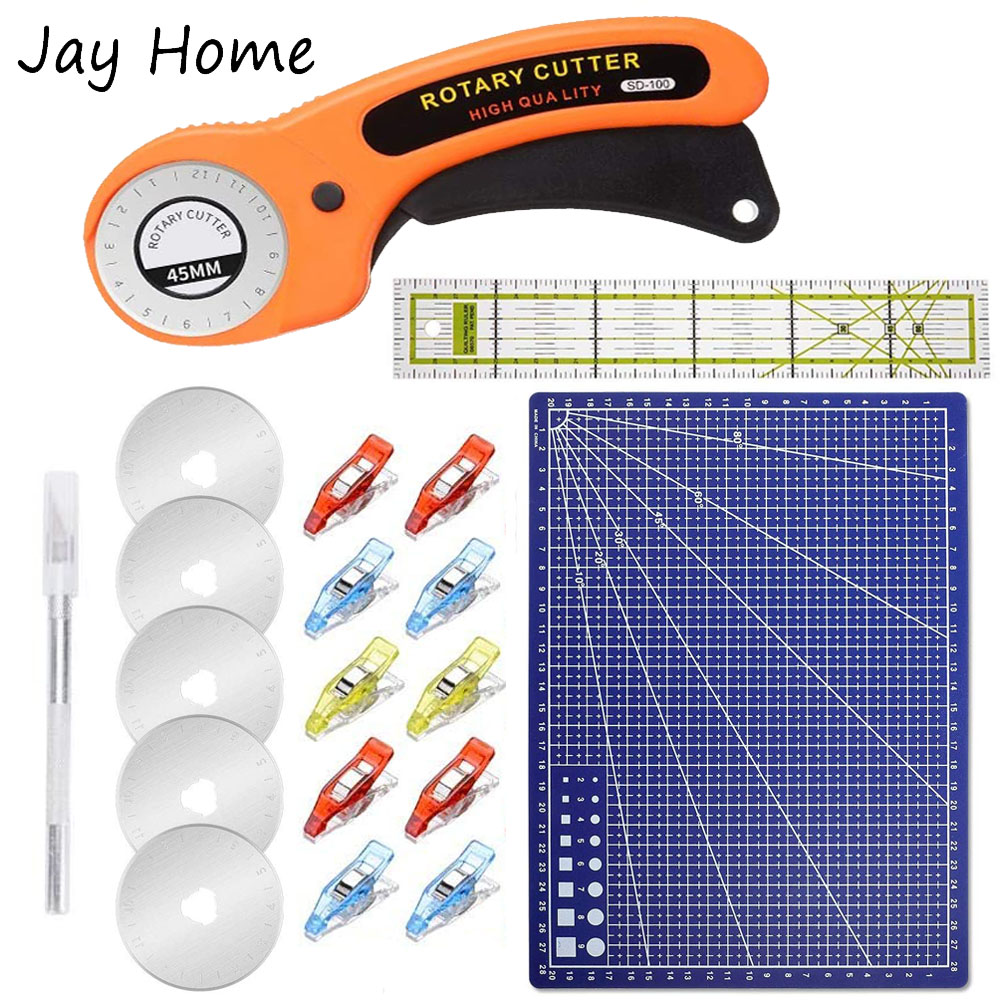15Pcs 45mm Rotary Cutter Kit & Cutting Mat & Patchwork Ruler & Sewing Clips for Cloths Fabric Leather DIY Sewing Craft