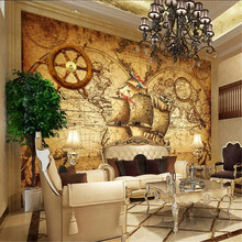 Milofi custom 3D personality retro nautical world map theme mural wallpaper TV background wall