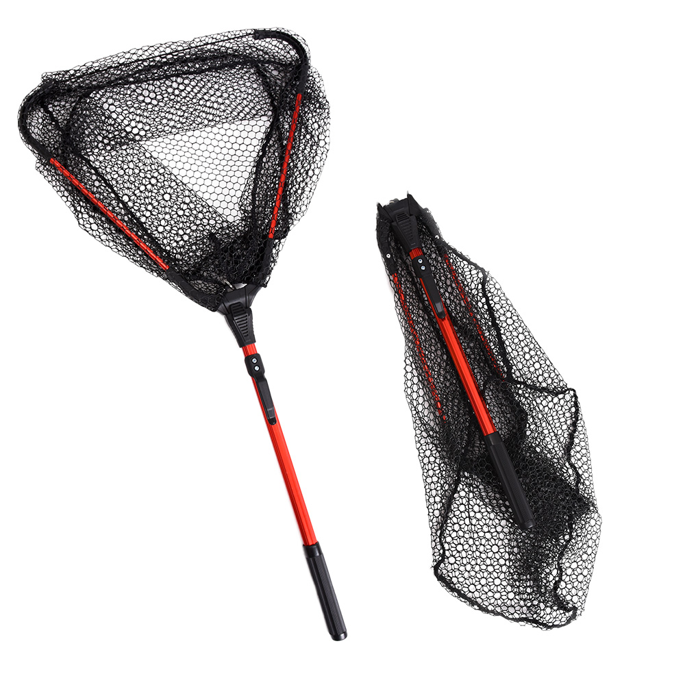 pesca telescópica dobrável pólo rede de pouso