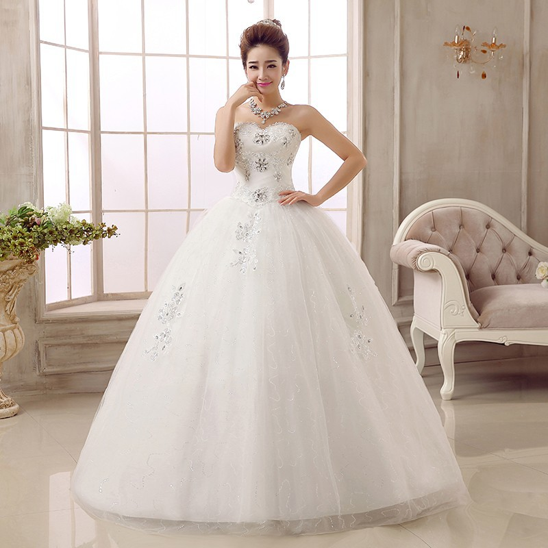 YULUOSHA Plus Size Wedding Dress Sleeveless Lace Appliques Strapless Floor-Length Dress Elegant Bridal Gown Vestido De Noiva