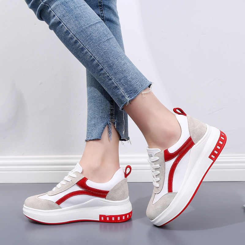 Phụ nữ Lưu Hóa Giày Genunine Da Giày Thoáng Khí Đế Lưu Hóa Giày tenis Feminino Giày
