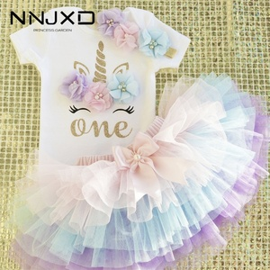 Little Princess Floral Unicorn Dress For Baby Girls 1 Year Birthday Dress Cake Smash Outfits Infant 12 Months Christening Gown(China)