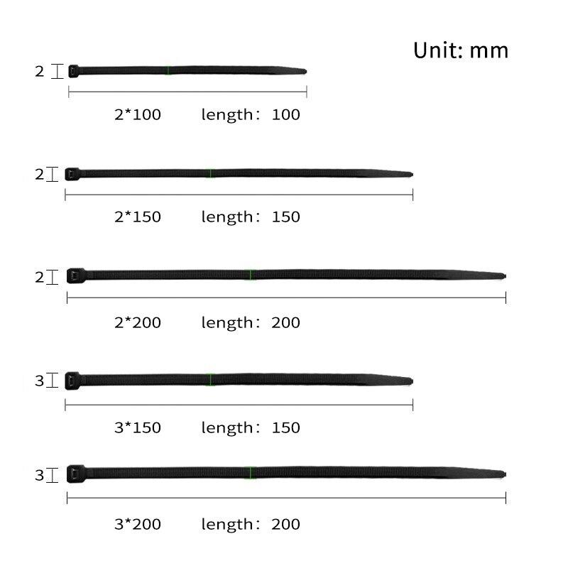 Купить с кэшбэком 100Pcs width 2mm 3mm 2*100mm 3*200mm White Black Self-locking Plastic Nylon Cable Ties Wire Zip Tie