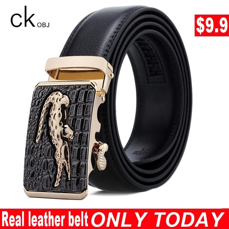 CKobj Famous Brand Belt Men's Quality Leather Belt Men's Alloy Automatic Buckle Large Size Business Men's Casual Formal Belt