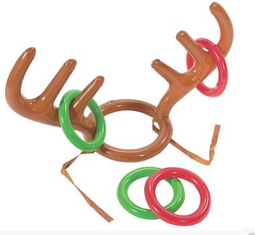 2 pcs/lot Christmas Inflatable Deer Head Rings Throwing Ring Toys Children Outdoor Recreation inflatable christmas