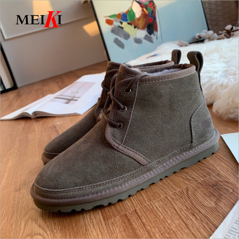 MEIKI Top Quality Fashion Snow Boots For Men Lace-up Winter Shoes Real Sheepskin Leather Nature Wool Fur Ankle Short Boots 35-45