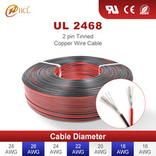 UL2468 2 Pin Electrical Automotive Wires Speaker Cable Tinned Copper Red Black 16 18 20 22 24 26 28 AWG LED Strip Extend Cord