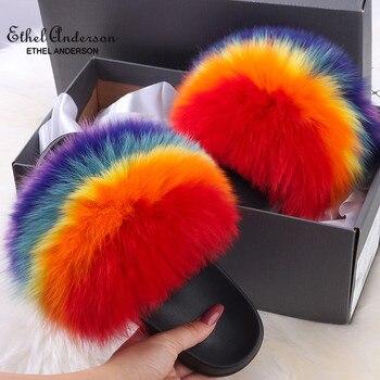 Zapatillas de pelo de zorro para mujer, chanclas suaves de felpa con pelo de zorro auténtico, pantuflas coloridas de arcoíris para el hogar