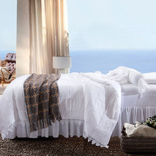 Personalized Simple Washed Cotton Quilt Four-Piece Cover Bed Stool Set Elastic With Pillowcase