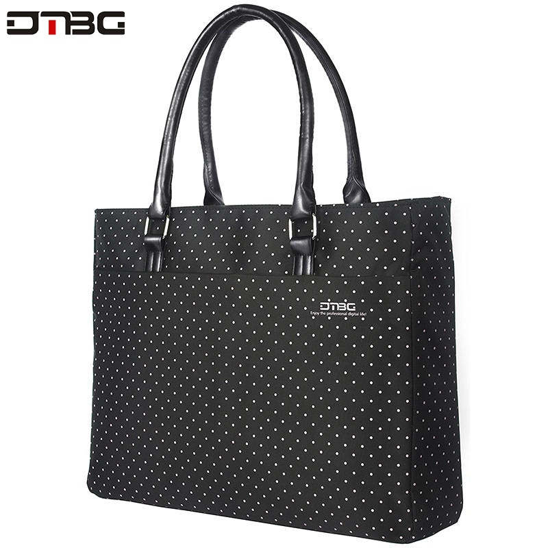 DTBG Laptop Totes For Women Vintage Dot Printed Business Waterproof Handbag Ladies Office Water Resistant Computer Briefcase
