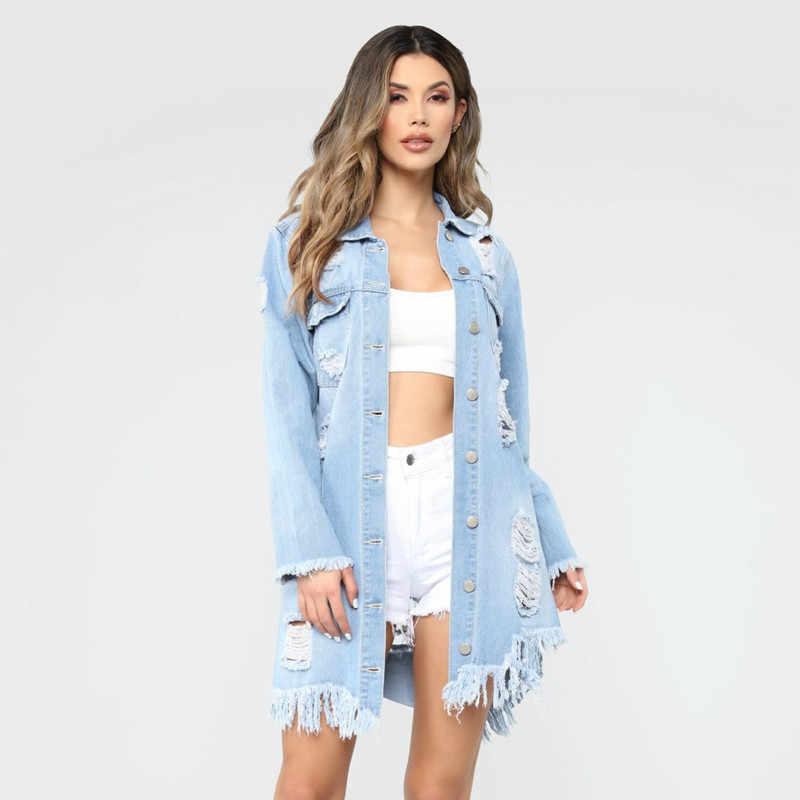 2018 Fashion Herfst Sexy Gat Kwastje Vrouwelijke Demin Jeans Jas Vrouwen Losse Lange Jas Bovenkleding Jas Casaco Feminino Streetwear