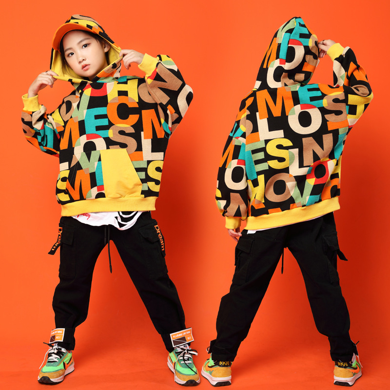Kid Fashion Letters Print Hoodie Sweatshirt Tops Running Casual Hip Hop Pants Clothing For Girls Boys Jazz Dance Costume Clothes