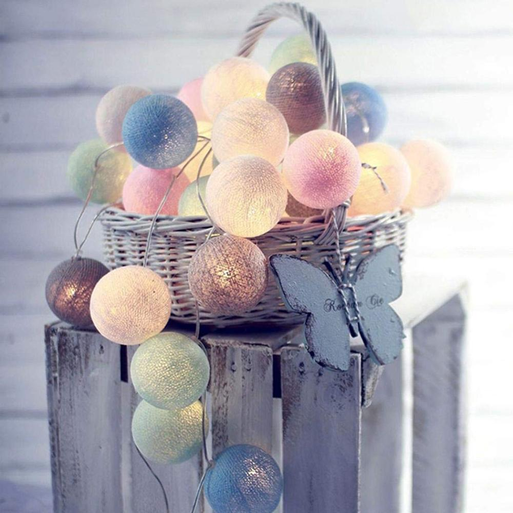 Garland Cotton Balls String Lights Cotton Ball Light Chain Guirlande Lumineuse Christmas Lights Indoor Party Decoration Dropship