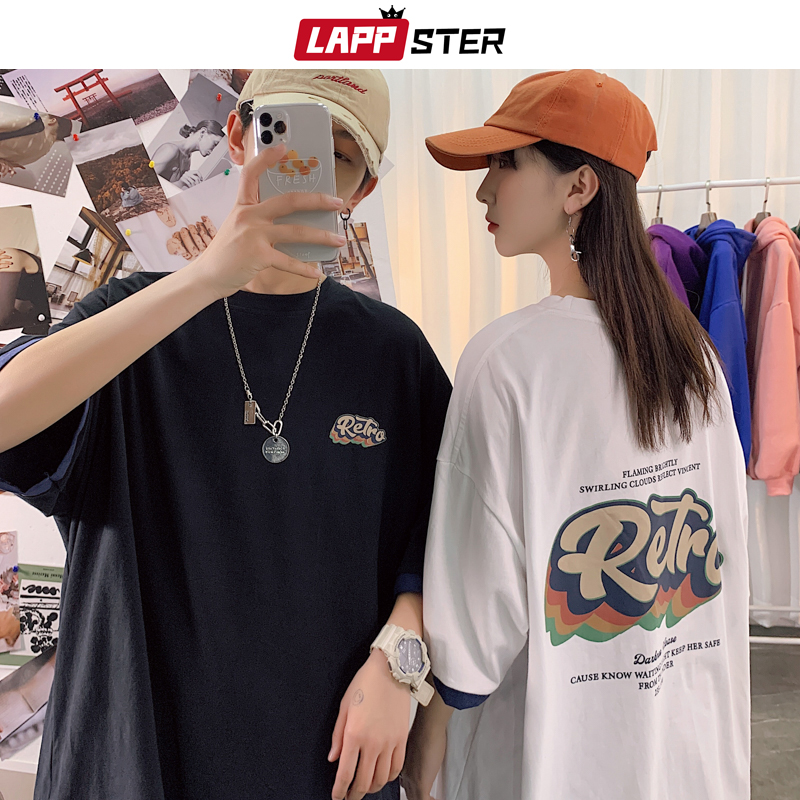 LAPPSTER Men Retra Harajuku T Shirt 2020 Summer Mens Black Korean Fashions Funny Top Tshirts Couple Japanese Streetwear Clothing